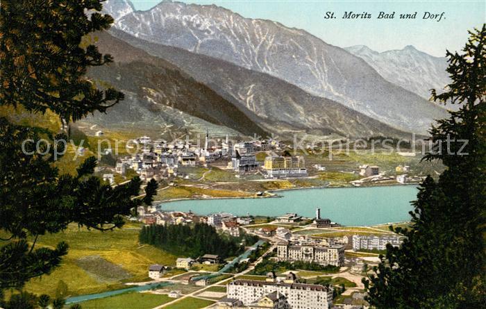 AK / Ansichtskarte St_Moritz_GR Bad und Dorf St_Moritz_GR