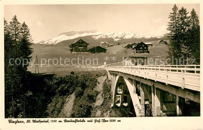 AK / Ansichtskarte Riezlern_Kleinwalsertal_Vorarlberg Breitachbruecke mit Hochifen Riezlern_Kleinwalsertal