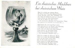 AK / Ansichtskarte Wein Weinglas Gedicht Ein rheinisches Maedchen bei rheinischem Wein Wein