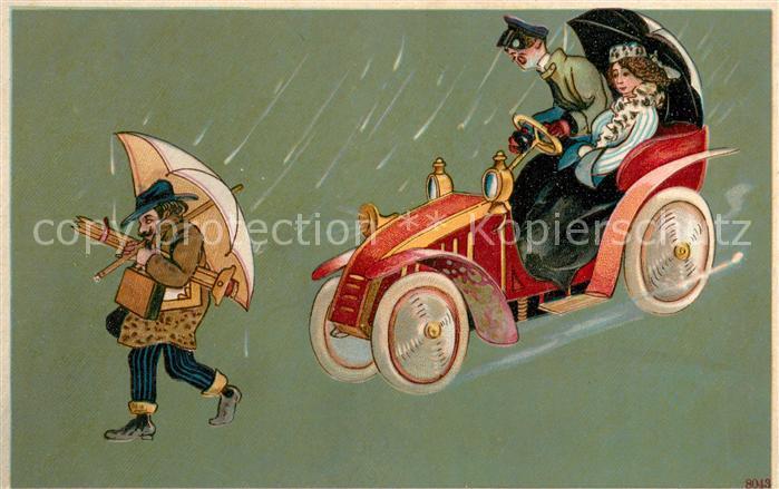 AK / Ansichtskarte Autos Oldtimer Mann Regen Regenschirm Litho Autos