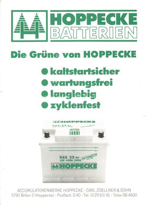 AK / Ansichtskarte Werbung_Reklame Hoppecke Batterien  Werbung_Reklame