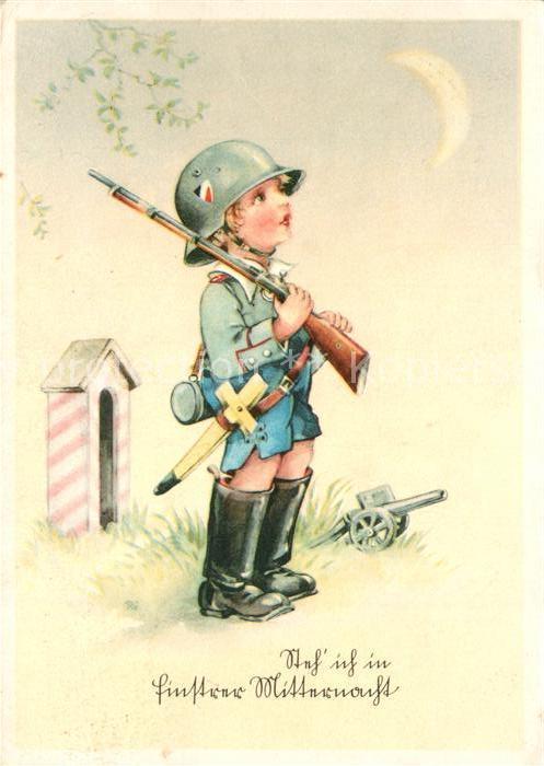 AK / Ansichtskarte Kindersoldaten Kanone Gewehr Holzschwert Kindersoldaten