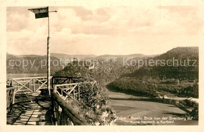 AK / Ansichtskarte Fraenkische_Schweiz Blick von der Streitburg auf Ruine Neideck und Kurbad Fraenkische Schweiz