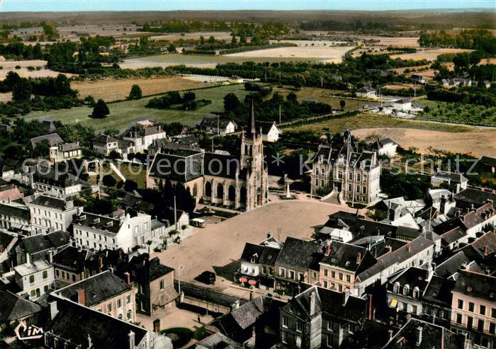 AK / Ansichtskarte Bourg Achard Fliegeraufnahme Place de Hotel de Ville Eglise  Bourg Achard