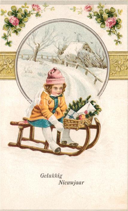 AK / Ansichtskarte Schlitten_Schnee Kind Brief Neujahr Litho Schlitten Schnee