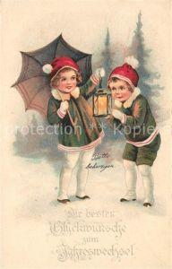 AK / Ansichtskarte Neujahr Kinder Laterne Regenschirm Litho  Neujahr