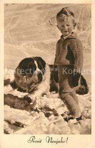 AK / Ansichtskarte Bernhardiner Kind Neujahr Tierschutzverein Wien  Bernhardiner