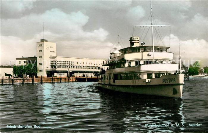 AK / Ansichtskarte Motorschiffe M.S. Austria Friedrichshafen Bodensee Hafenbahnhof  Motorschiffe