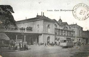 AK / Ansichtskarte Bahnhof Strassenbahn Paris Gare Montparnasse  Bahnhof