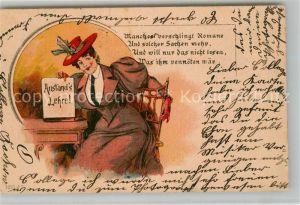 AK / Ansichtskarte Humor Anstandslehre Frau Hut Vers Litho  Humor