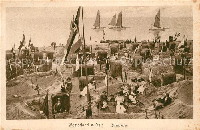 AK / Ansichtskarte Westerland_Sylt Strandleben Sandburgen Westerland_Sylt