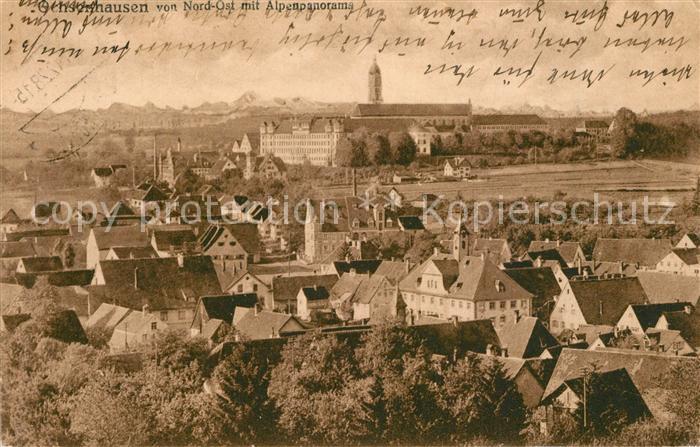 AK / Ansichtskarte Ochsenhausen Stadtbild von Nord Ost Benediktinerabtei Alpenpanorama Ochsenhausen