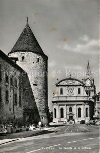 AK / Ansichtskarte Yverdon_VD Le Temple et le Chateau Yverdon_VD