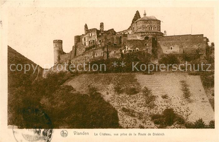 AK / Ansichtskarte Vianden Le Chateau vue prise de la Route de Diekirch Vianden