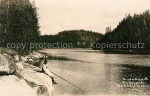 AK / Ansichtskarte Finnland Heinaevedenreitti Maedchen beim Angeln Finnland
