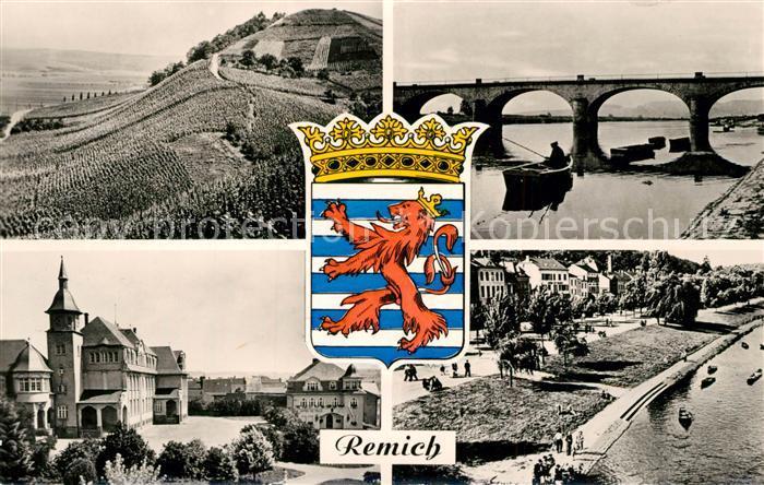AK / Ansichtskarte Remich Les Vignobles Au bord de la Moselle Ecole Mairie Weinberge Wappen Remich