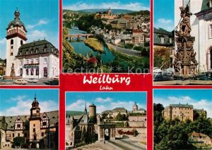 AK / Ansichtskarte Weilburg Rathaus Fliegeraufnahme Brunen Rathaus Schloss Weilburg