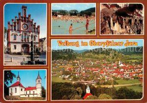 AK / Ansichtskarte Velburg Rathaus Kirche Schwimmbad Fliegeraufnahme Velburg