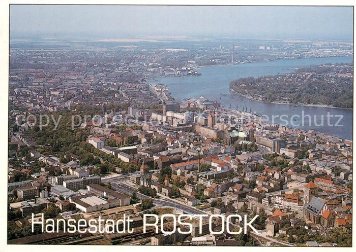 AK / Ansichtskarte Rostock_Mecklenburg Vorpommern Hansestadt Fliegeraufnahme Rostock