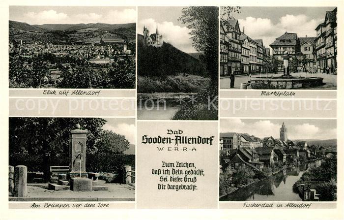 AK / Ansichtskarte Bad_Sooden Allendorf Marktplatz Brunnen Fischerstad Bad_Sooden Allendorf