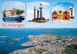 AK / Ansichtskarte Stavanger Hafen Monument Ortsmotiv Fliegeraufnahme Stavanger