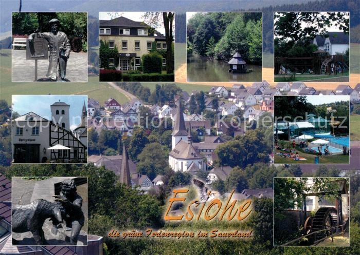 AK / Ansichtskarte Eslohe_Sauerland Orts und Teilansichten Brunnen Muehlrad Park Panorama Eslohe_Sauerland