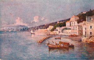 AK / Ansichtskarte Posillipo_Neapel Hafen Haeuserpartie am Wasser Kuenstlerkarte Posillipo Neapel
