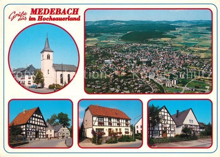 AK / Ansichtskarte Medebach Kirche Fliegeraufnahme Medebach