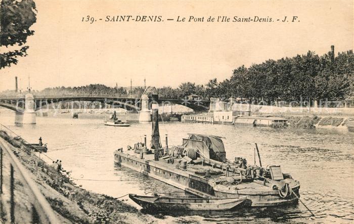 AK / Ansichtskarte Saint Denis_Seine_Saint_Denis Pont de l Ile Saint Denis Bateau Saint Denis_Seine