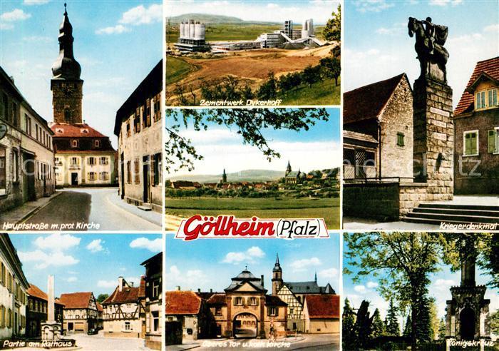 AK / Ansichtskarte Goellheim Hauptstrasse protestantische Kirche Kriegerdenkmal Rathaus  Goellheim