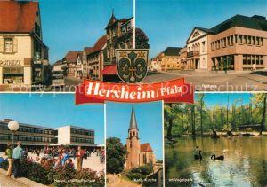 AK / Ansichtskarte Herxheim_Pfalz Obere Hauptstrasse Rathaus Vogelpark Katholische Kirche Schule Herxheim Pfalz