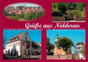 AK / Ansichtskarte Nidderau_Hessen Marktplatz Kirche Bruecke Nidder Nidderau Hessen