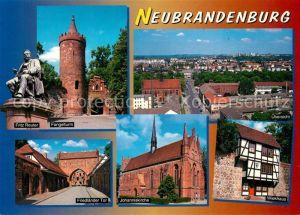 AK / Ansichtskarte Neubrandenburg Fritz Reuter Fangelturm Johanniskirche Friedlaender Tor Neubrandenburg