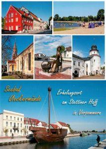 AK / Ansichtskarte Ueckermuende_Mecklenburg_Vorpommern Marienkirche Schloss Waschfrau Ueckermuende_Mecklenburg