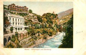 AK / Ansichtskarte Meran_Merano Gilfanlagen und Zenoburg Fluss Meran Merano