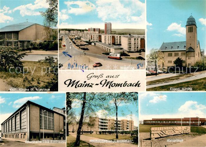 Ak Ansichtskarte Mombach Kirche Hallenbad Westring Sporthalle