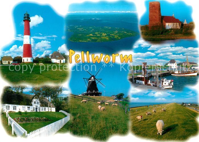 AK / Ansichtskarte Pellworm Leuchtturm Fliegeraufnahme Muehle Schafe Pellworm