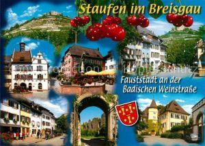 AK / Ansichtskarte Staufen_Breisgau Burgruine Rathaus  Staufen Breisgau