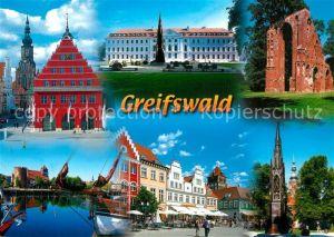 AK / Ansichtskarte Greifswald Rathaus Marktplatz Klosterruine Eldena Klappbruecke Greifswald
