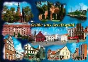 AK / Ansichtskarte Greifswald Kirche Rathaus Marktplatz Dom Denkmal Greifswald