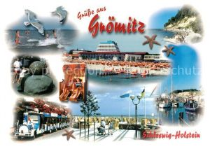 AK / Ansichtskarte Groemitz_Ostseebad Strand Parkeisenbahn Hafen Groemitz_Ostseebad