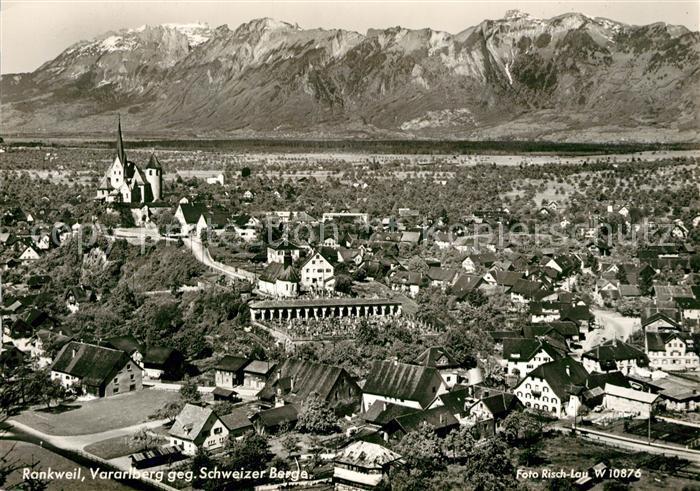 Vorarlberg Karte Berge.Ak Ansichtskarte Rankweil Vorarlberg Stadtpanorama Blick Gegen Schweizer Berge Rankweil Vorarlberg