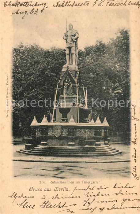 AK / Ansichtskarte Berlin Rolandbrunnen im Thiergarten Berlin