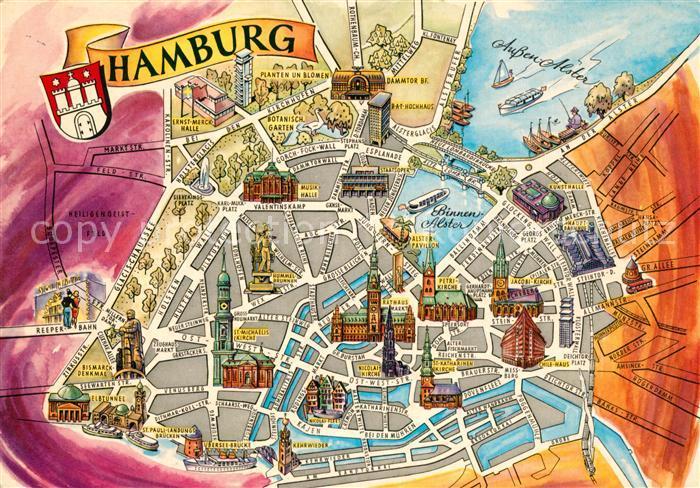 AK / Ansichtskarte Hamburg Stadtkarte  Hamburg