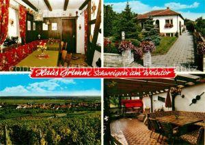 AK / Ansichtskarte Rechtenbach_Schweigen Rechtenbach Gaestehaus Pension Haus Grimm Landschaftspanorama Rechtenbach