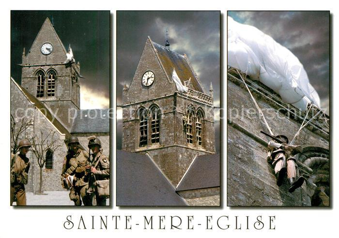 AK / Ansichtskarte Sainte Mere Eglise Clocher de l eglise Commemoration Soldat John Steele Fallschirmspringer Sainte Mere Eglise