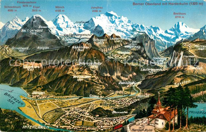 AK / Ansichtskarte Berner_Oberland mit Harderkulm und Interlaken Brienzer See und Thuner See Berner_Oberland