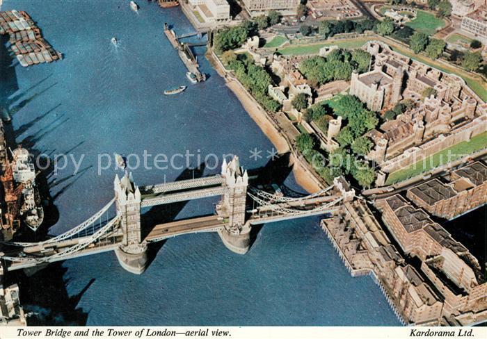 AK / Ansichtskarte London Tower Bridge Tower of London Aerial View  London
