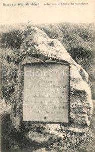 AK / Ansichtskarte Westerland_Sylt Gedenkstein Friedhof Heimatlose Westerland_Sylt
