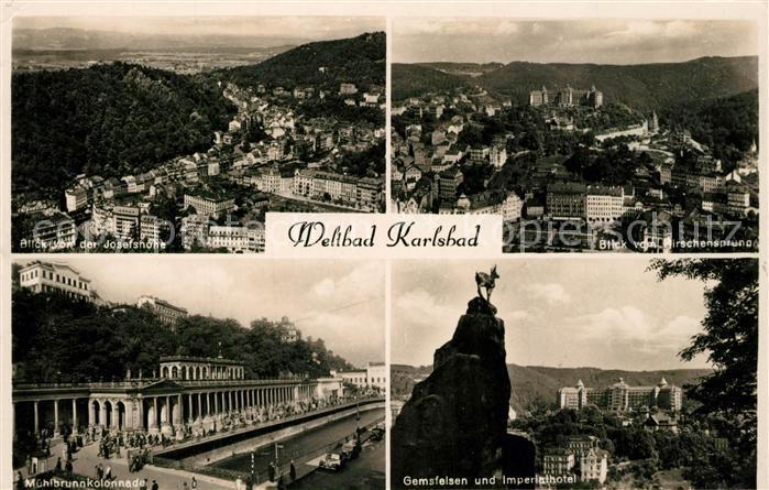AK / Ansichtskarte Karlsbad_Eger Blick von der Josefshoehe und vom Hirschensprung Muehlbrunnkolonnade Gemsfelsen und Imperialhotel Karlsbad_Eger